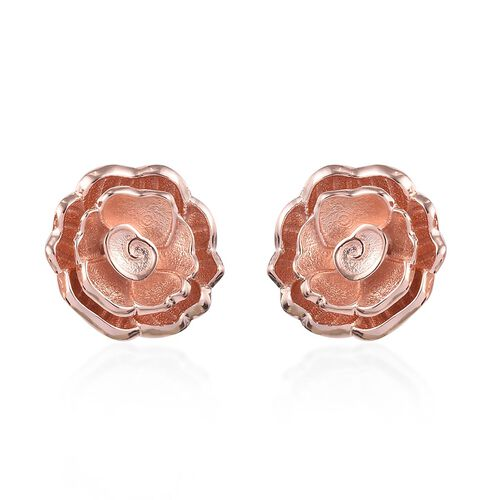 Rose Gold Overlay Sterling Silver Floral Stud Earrings (with Push Back)
