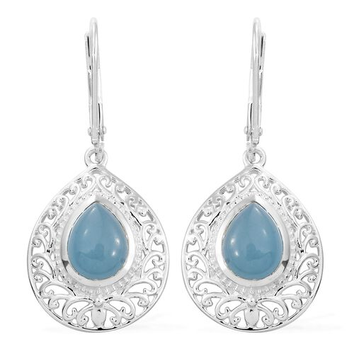 Blue Jade (Pear) Drop Lever Back Earrings in Sterling Silver 4.250 Ct.