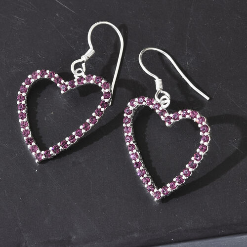 J Francis Crystal from Swarovski - Amethyst Colour Crystal (Rnd) Heart Hook Earrings in Sterling Silver