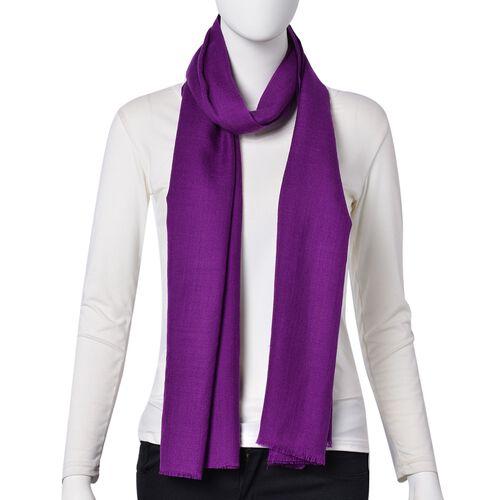 Super Soft- 100% Wool Violet Colour Scarf with Fringes (Size 190X70 Cm)