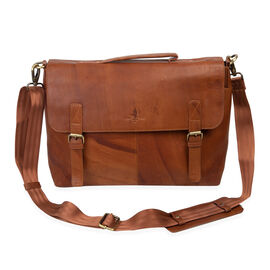 MCS Country Classics: 100% Genuine Leather Briefcase/Satchel Bag (37.5 x 28.5 x 10 Cms)- Cognac