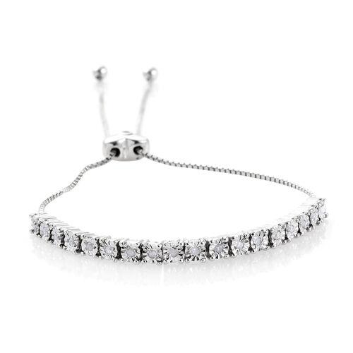 Diamond Dream (Rnd), Kanchanaburi Blue Sapphire Adjustable Bracelet (Size 6.5 to 9 Inch) in Platinum Overlay Sterling Silver 0.170 Ct.