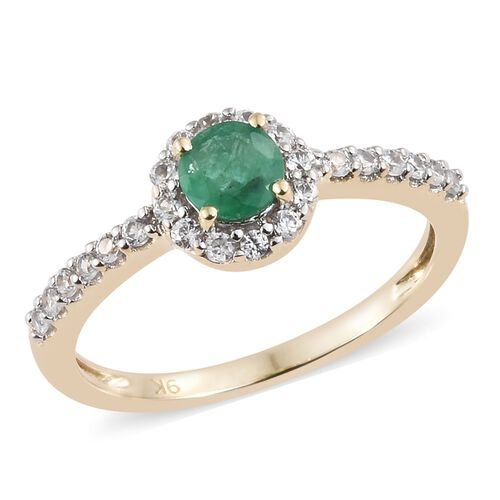 9K Yellow Gold AA Kagem Zambian Emerald (Rnd), Natural Cambodian Zircon Ring 1.000 Ct.