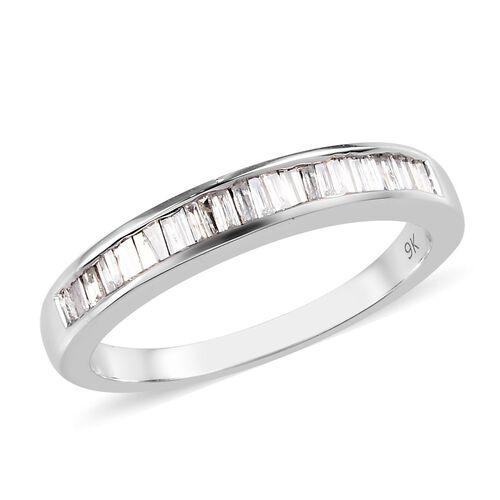 0.50 Ct Diamond Half Eternity Band Ring in 9K White Gold 3.40 Grams