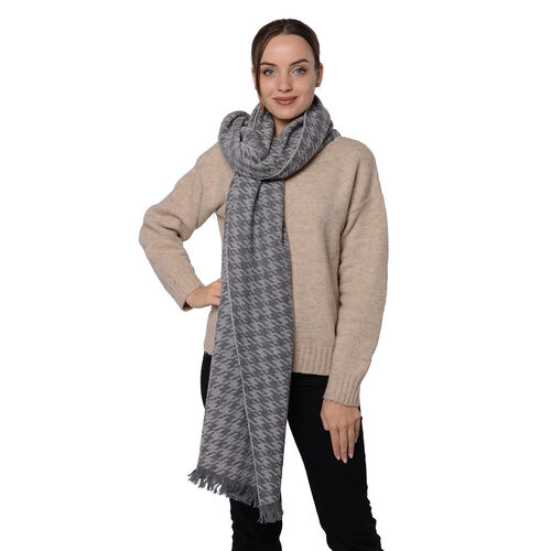 Close Out Deal LA MAREY Super Soft 100% Wool Shawl in Grey Houndstooth Pattern with Tassels (200x69+