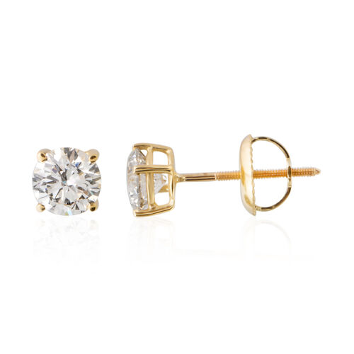 ILIANA 18K Yellow Gold AGI Certified Diamond (Rnd) (SI G-H) Stud Earrings (with Screw Back) 1.000 Ct