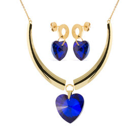 2 Piece Set - Simulated Blue Sapphire (Hrt) Earrings (with Push Back) and Necklace (Size 20) in Yell