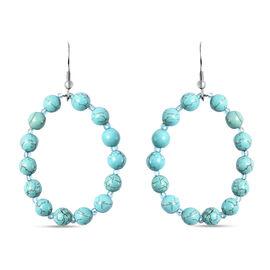 Blue Howlite, Simulated Blue Howlite Earrings in  Stainless Steel 52.501 Ct.