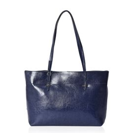 100% Genuine Leather Tote Bag with Zipper Closure (Size 39x12x27 Cm) - Navy