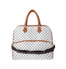 Checker Pattern Travel Bag with Detachable Shoulder Strap and Zipper Closure (Size 43x15x37cm)- Whit