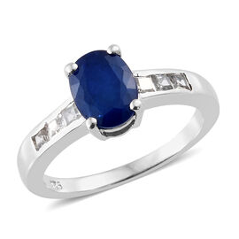 Designer Inspired Very Rare Blue Spinel (Ovl 8x6mm), Natural Cambodian Zircon Ring in Platinum Overlay Sterling Silver 2.000 Ct.