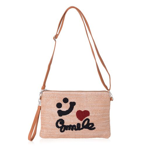 Light Coffee, Red and Black Colour Smile Pattern Crossbody Bag (Size 29x20x14.5 Cm)