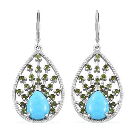 5 Ct Sleeping Beauty Turquoise and Russian Diopside Drop Earrings in Sterling Silver 6.92 Grams