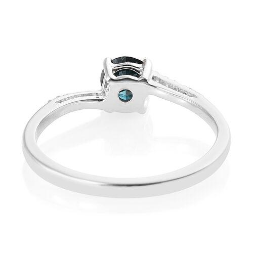 9K White Gold Blue and White Diamond (Rnd) Ring 0.570 Ct.