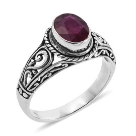 Royal Bali Collection African Ruby (Ovl) Solitaire Ring in Sterling Silver 5.00 Ct.