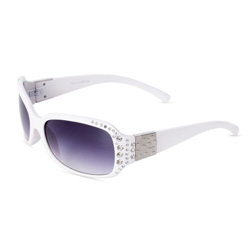 Shiny Ivory Classic Shaped Frame Sunglasses with Crystals and UV Protection Lenses Including Hard Plastic Black Pouch