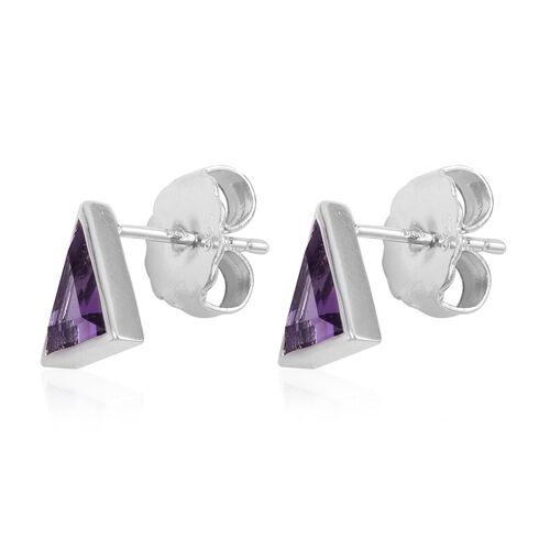 RACHEL GALLEY Amethyst (Triangle) Stud Earrings (with Push Back) in Rhodium Plated Sterling Silver