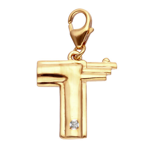 Diamond (Rnd) Initial T Charm in 14K Gold Overlay Sterling Silver