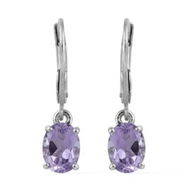 Rose De France Amethyst (Ovl) Lever Back Earrings in Platinum Overlay Sterling Silver 2.00 Ct.
