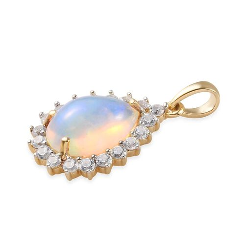 9K Yellow Gold Ethiopian Welo Opal (Pear 14x10 mm 3.20 Cts) and Natural Cambodian Zircon Pendant 4.50 Ct.