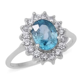 Ratnakiri Blue Zircon (Ovl 3.00 Ct), Natural Cambodian White Zircon Ring in Rhodium Overlay Sterling