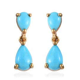 Arizona Sleeping Beauty Turquoise (Pear) Earrings (with Push Back) in 14K Gold Overlay Sterling Silv