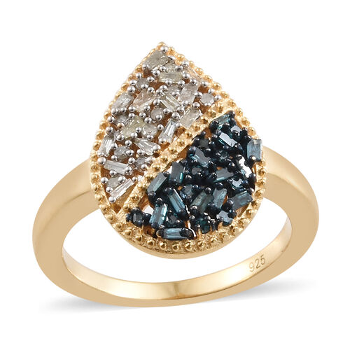 Blue and White Diamond (Rnd and Bgt) Ring in 14K Gold Overlay with Blue Plating Sterling Silver Ring