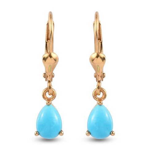 Arizona Sleeping Beauty Turquoise Lever Back Earrings in 14K Gold Overlay Sterling Silver 1.25 Ct.
