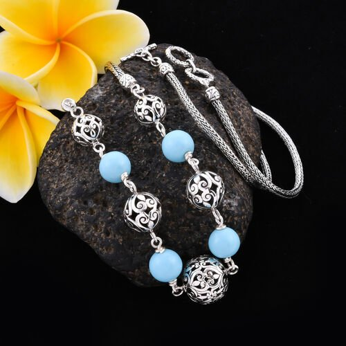 Royal Bali Collection - Arizona Sleeping Beauty Turquoise Beads Necklace (Size 24 with Extender) in Sterling Silver 20.00 Ct, Silver wt 27.76 Gms