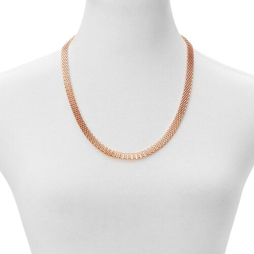Flat Mesh Chain Necklace (Size 24) and Bracelet (Size 7.5 with 1 inch Extender) in Rose Gold Tone with Stainless Steel