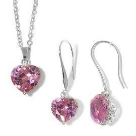2 Piece Set  - Simulated Pink Diamond (Hrt 8 mm) Heart Pendant With Chain (Size 18 with 2 inch Exten