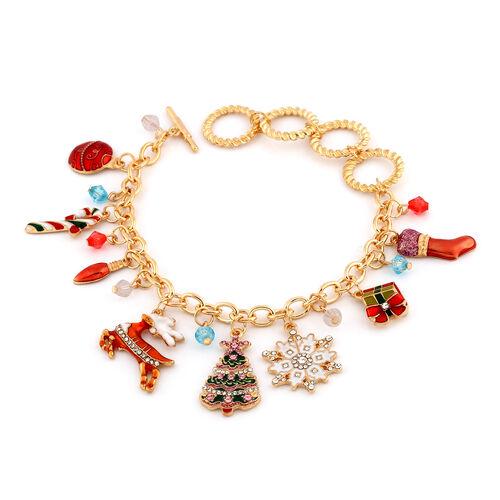 Multi Colour Austrian Crystal and Simulated Multi Gemstone Christmas Theme Enamelled Charm Bracelet