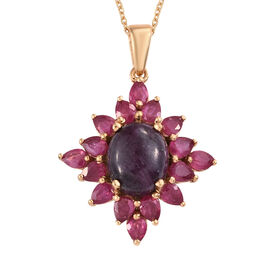 Ruby Zoisite (Ovl 4.75 Ct), African Ruby Pendant With Chain (Size 20) in 14K Gold Overlay Sterling S