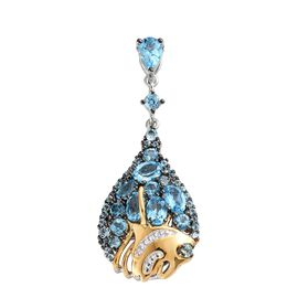 GP Swiss Blue Topaz (Pear), Kanchanaburi Blue Sapphire Drop Pendant in Yellow Gold and Platinum Overlay Sterling Silver 5.250 Ct. Silver wt 6.00 Gms.