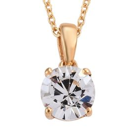 J Francis - Crystal from Swarovski White Crystal (Rnd) Solitaire Pendant With Chain (Size 18) in 14K