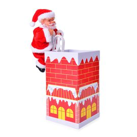 Xmas Decorations - Singing Electric Santa Claus Toys Santa Climbing Up and Down of House