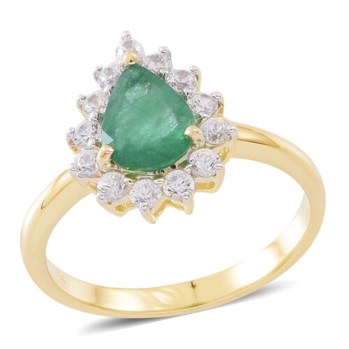 9K Yellow Gold AAA Kagem Zambian Emerald (Pear 1.00 Ct), Natural White Cambodian Zircon Ring 1.750 Ct.
