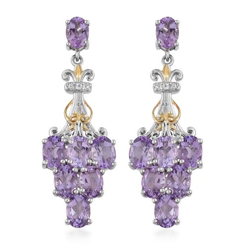Rose De France Amethyst (Ovl), Natural Cambodian Zircon Earrings (with Push Back) in Platinum and Ye