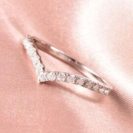 Moissanite Wishbone Ring in Rhodium Overlay Sterling Silver