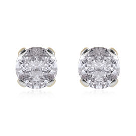 0.33 Ct Diamond Solitaire Stud Earrings in 9K Yellow Gold SGL Certified I3 GH