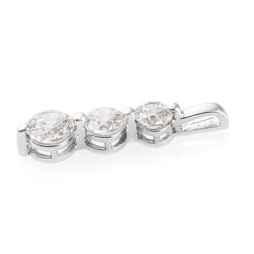 J Francis - Platinum Overlay Sterling Silver (Rnd) 3 Stone Pendant Made with SWAROVSKI ZIRCONIA.