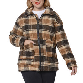 Dark and Light Brown Plaid Pattern Faux Fur Coat with Pockets