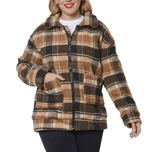 Dark and Light  Brown Plaid Pattern Faux Fur Coat with Pockets (Size S; 54x70cm)