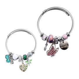 Set of 2 -  Simulated Blue Topaz, Simulated Pink Sapphire and Multi Gemstone Enamelled Charm Bracele