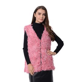 One Time Close Out Deal - Living Coral Colour Faux Fur Vest (Size 65x50 Cm)