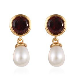 Fresh Water Pearl (5.75 Ct),Mozambique Garnet 14K Gold Overlay Sterling Silver Earring  7.750  Ct.