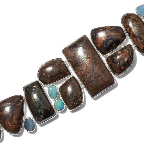 One Off A Kind- Australian Boulder Opal Rock and Opal Double Bracelet (Size 8) in Sterling Silver 210.250 Ct. Silver wt 27.00 Gms.