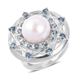 LUCY Q Freshwater White Pearl and London Blue Topaz Dream Catcher Ring in Rhodium Plated Sterling Si