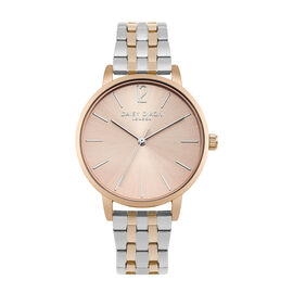 Daisy Dixon Imogen Gold and Rose Gold Tone Ladies Watch with Pale Rose Gold Dial