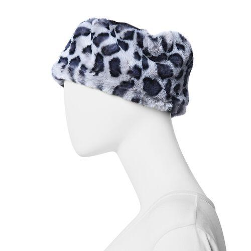 Leopard Pattern Faux Fur Warming Headband (Size 12x30 Cm) - Black and Grey